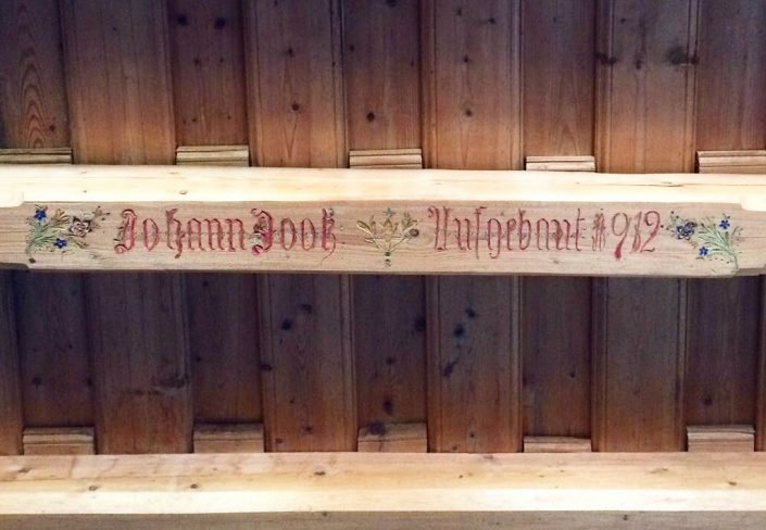 Johann's signature on the original beams